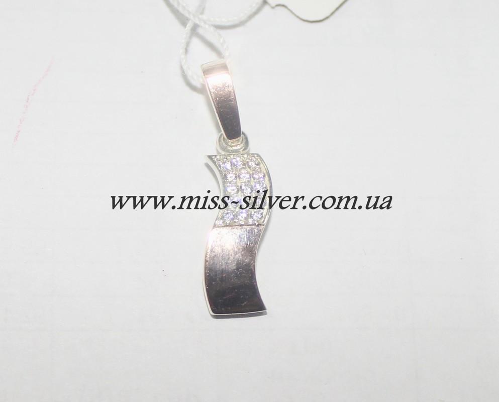 Кулон из серебра с золотом Волна