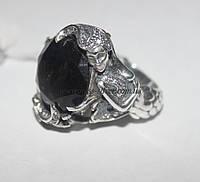 Кольцо Русалка из серебра с коричневым камнем
