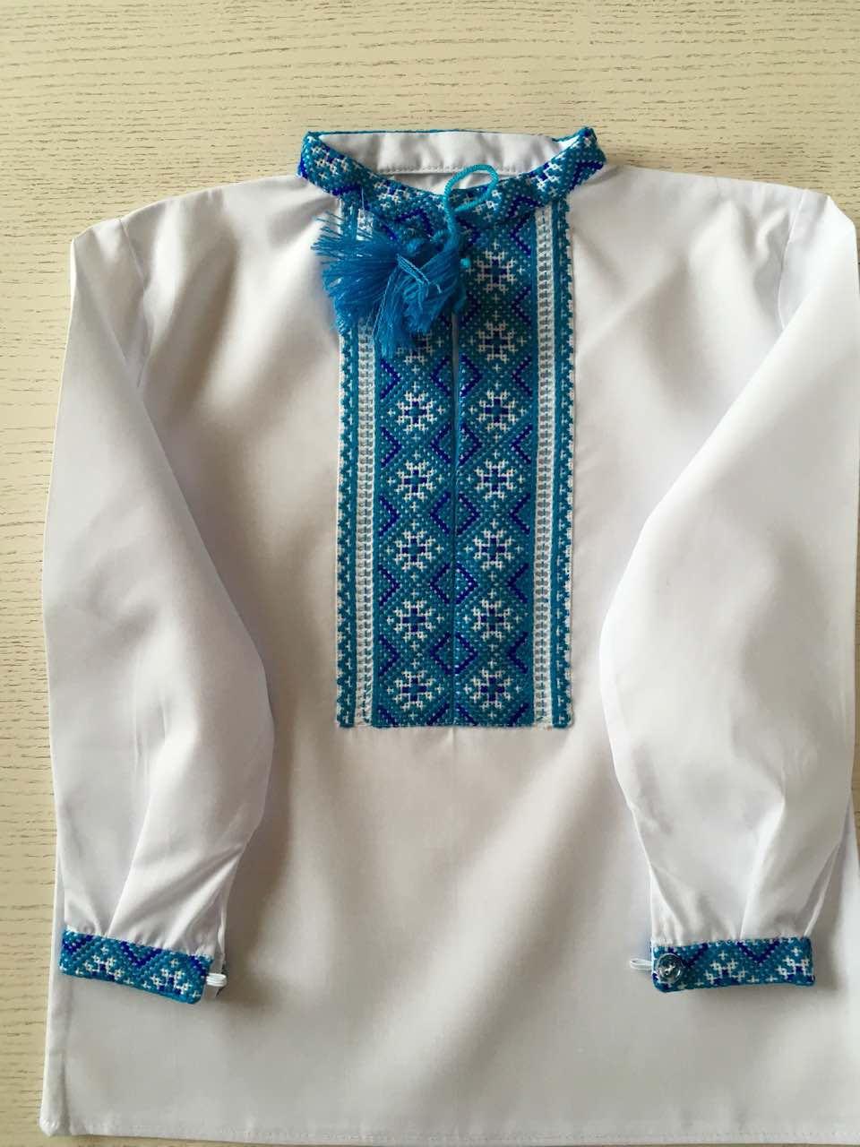 Сорочка біла вишита хрестиком ручної роботи для хлопчика на 2 роки ... 73971506ea2fa
