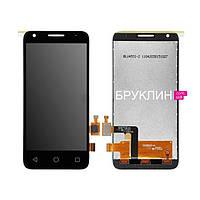 Дисплей для мобильного телефона Alcatel OT6012D/OT6012X, черный, с тачскрином, с рамой/ Экран для Ал