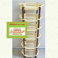 Пластиковая этажерка LUX на 6 ярусов, кофейно-коричневая