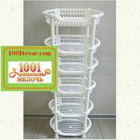 Пластиковая этажерка LUX на 6-ть ярусов, белая