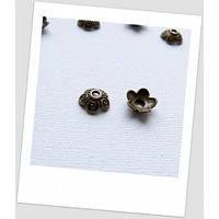 Шапочка для бусины металлическая, цвет: бронзовый, 10 мм