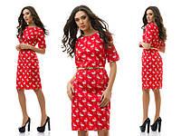 Коттоновое нежное платье с пояском в комплекте, прит фламинго
