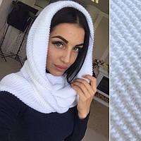 Шарф хомут  белый , вязаные шарфы снуд