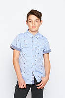 Детские рубашки с коротким рукавом для мальчиков Glo-Story:BCS-1539 белый, р.140,158