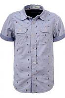 Детские рубашки с коротким рукавом для мальчиков Glo-Story:BCS-1539 серый, р.134,146