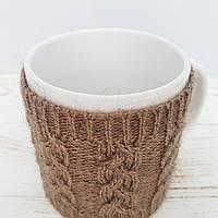 Чашка в чехле Ohaina  в косы 10х10  цвет тирамису, фото 1