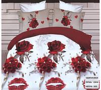 Комплект постельного белья евро размер Букет красных роз ,  постельное белье