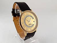 Мужские часы ROLEX - тонкий корпус, золотой циферблат, дата С