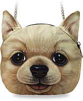 05-19 Коричневая с принтом собачки женская сумка модель Vega