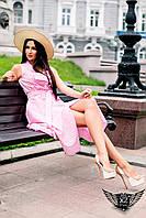 Летнее платье в клетку с пуговицами розовое