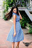 Летнее платье в клетку с пуговицами  голубое, черное
