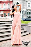 Платье в пол без рукавов персиковое, ментоловое, желтое