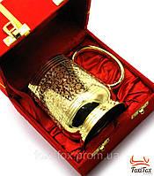 Элитная позолоченая кружка в подарочной коробке