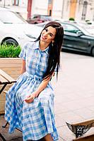 Платье в клетку с короткими рукавами голубое