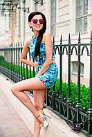 Женский летний костюм топ и шорты розовый, голубой, пудровый