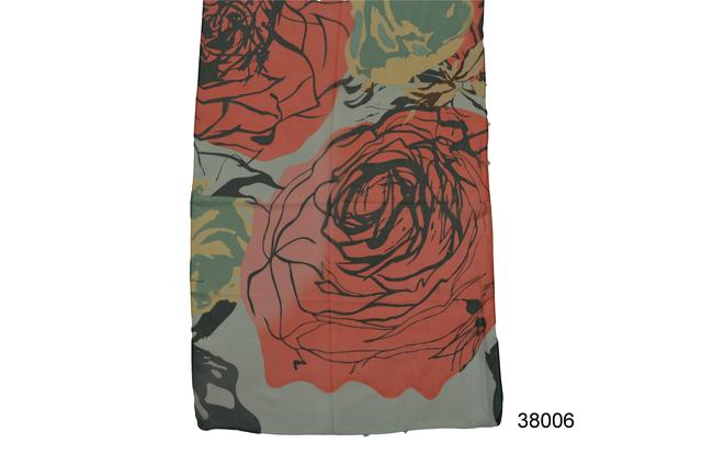 Женский легкий шифоновый шарф с розой2