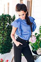 Блузка с воланами весенняя с объемными рукавами  бежевая и джинсовая