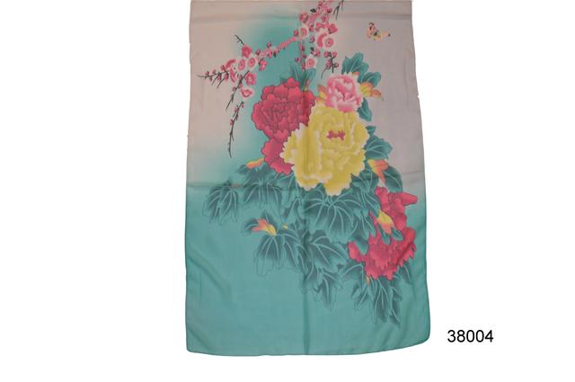 Женский бирюзовый легкий шифоновый шарф сакура2