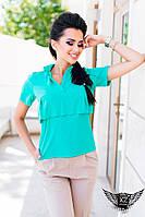 Женская рубашка с коротким рукавом ментоловая под футболку