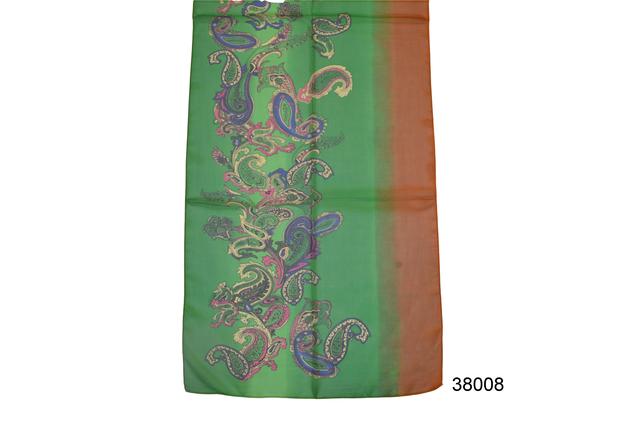 Женский зеленый легкий шифоновый шарф 2