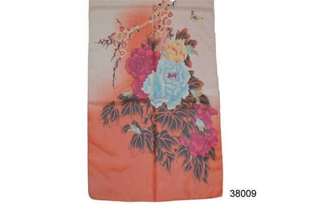 Женский морковный легкий шифоновый шарф 2