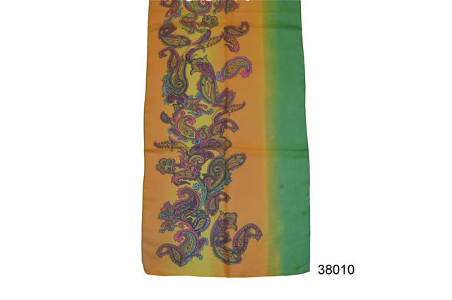 Женский желто-зеленый легкий шифоновый шарф 2