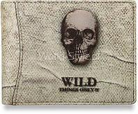05-19 Серый мужской бумажник с черепом модель Fjej