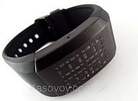 Часы мужские Alberto Kavalli бинарные, LED, черный ремешок и циферблат, лучшее качество