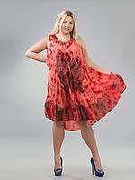 Сарафан-разлетайка красный с бабочкой, на 48-64 размеры