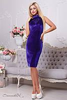 Велюровое женское платье с вышивкой 2108 электрик Seventeen 44-50 размеры