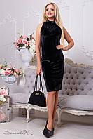 Велюровое женское черное платье с вышивкой 2107 Seventeen 44-50 размеры