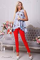 Стильная женская синяя рубашка-туника с принтом 2132 Seventeen 42-48 размеры