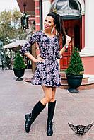 Короткое цветастое платье темно синие с пудрой