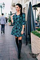 Короткое цветастое платье мятное, пудровое, зеленое