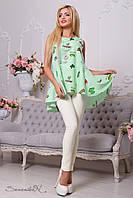 Стильная женская зеленая рубашка-туника с принтом 2131 Seventeen 42-48 размеры