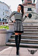 Элегантное платье в клетку с юбкой-колокол черно-белое