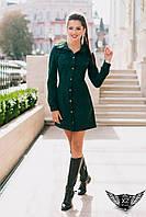 Короткое  велюровое платье-рубашка   зеленое