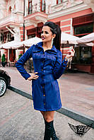 Короткое платье-рубашка темно-синее, зеленое, электрик