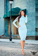 Облегающее платье ниже колена голубое  бордовое