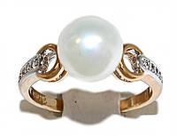 Кольцо фирмы Xuping.Цвет: позолота+родий.  Камни: белый циркон и жемчуг. Есть  16 р. 17 р.