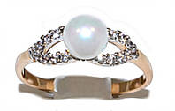 Кольцо фирмы Xuping.Цвет: позолота+родий.  Камни: белый циркон и жемчуг. Есть  15р. 16 р. 17 р.