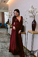 Вечернее платье в пол с глубоким вырезом и бордовое или  персиковое