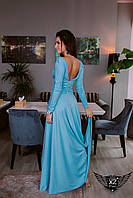 Вечернее платье в пол с глубоким вырезом голубое ментоловое