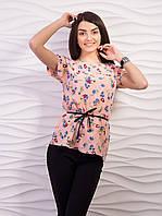 Легкая воздушная женская блузка из креп шифона с пояском