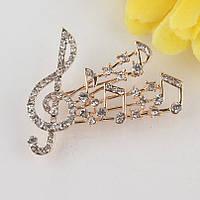 Брошь Музыка и нотты кристаллы Swarovski