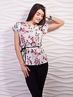 Легкая воздушная женская блузка из креп шифона с пояском белый цветы, 46-48