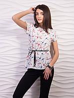 Легкая воздушная женская блузка из креп шифона с пояском белый ласточки, 44-46