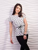 Легкая воздушная женская блузка из креп шифона с пояском белый абстракция, 44-46